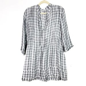 CP Shades Regina Plaid 100% Linen Tunic Medium